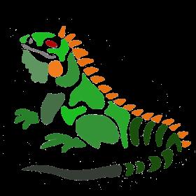 Funny Iguana Abstract Art
