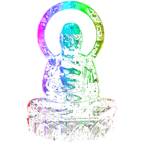 Rainbow Buddha Statue