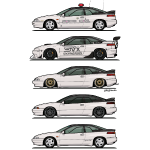 Stack of Pearl White Subaru Alcyone SVX