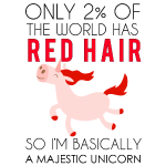 redhead unicorn shirt