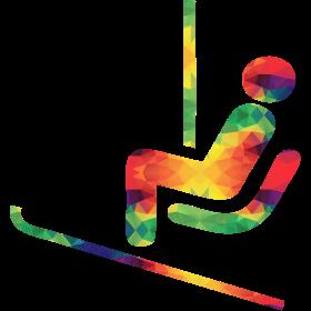 Colorful ski rider