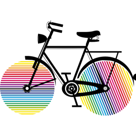 Bicycle with rainbow wheels