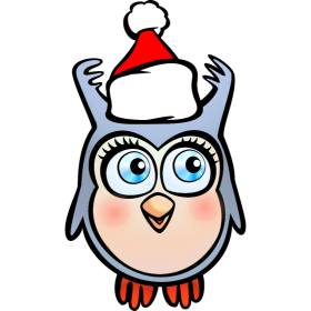 Cute Owl With Santa Hat