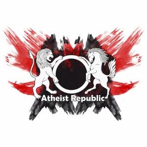 Atheist Republic Logo - Red & Black Painted Crest