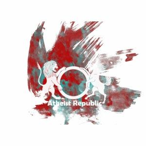 Atheist Republic Logo - Red & Blue Paint Splatter