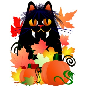 Halloween-kitty & leaves
