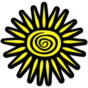 Big Sun, Big Rays With Funky Swirl, 2 Color