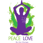 Yoga Tshirt Peace Love Be the Change