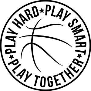 basketball play hard smart together team logo