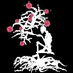 Sketeton tree of life in bloom in white