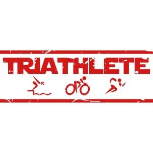 Triathlete swim bike run distressed