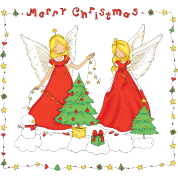 Christmas Angels with tree (Merry Christmas).