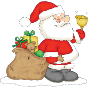 Santa Claus with bag of gifts.