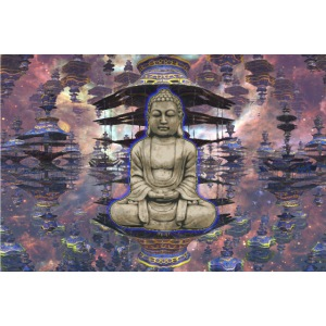 Buddha in Zen with Pagoda Temple Abstract