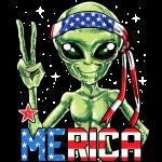 Alien Merica 4 juillet T-shirts Hommes Drapeau américain UFO Cadeaux Enfants Garçons