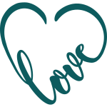love with heart decal