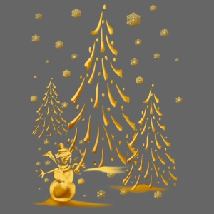 Gold Snowman and Christmas Tree