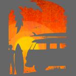 Surfer at sunset grunge