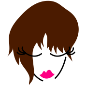 girl face looking down with trendy hair