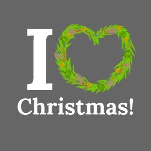 I Love Heart Christmas - Xmas Wreath Design!