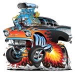 Classic hot rod 57 gasser dragster car cartoon