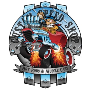 Custom Speed Shop Hot Rods and Muscle Cars Illustr