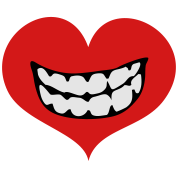 love heart with toothy smile