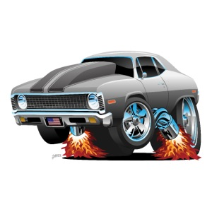 Classic American Muscle Car Hot Rod Cartoon