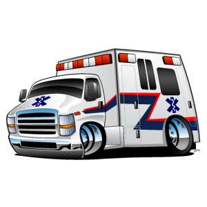 Paramedic EMT Ambulance Rescue Truck Cartoon