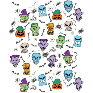 Halloween characters making funny faces pattern
