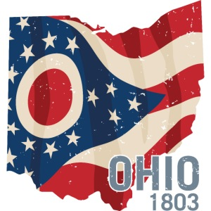 Ohio 1803 with Ohio flag stars and stripes