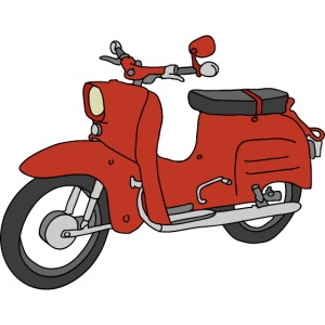 Schwalbe, ibiza-red scooter from GDR