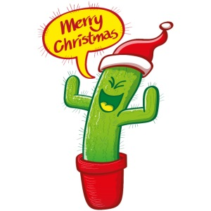 Green cactus with Santa hat celebrating Christmas
