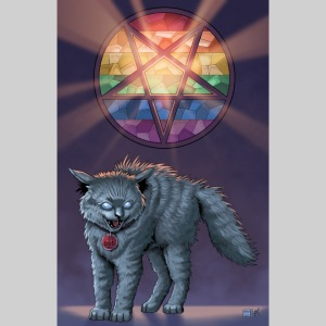 Devil Cat with Rainbow Stained Glass