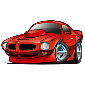 Classic Seventies American Muscle Car Cartoon
