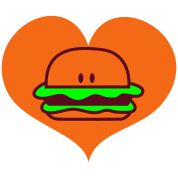 hamburger in love heart with peeking eyes