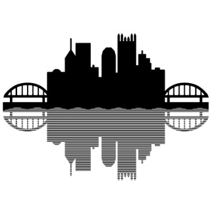 Pittsburgh Skyline Reflection (Black)