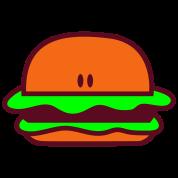 hamburger short bun eyes facing foreward