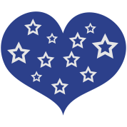 love heart with stars