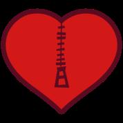 love heart with zipper