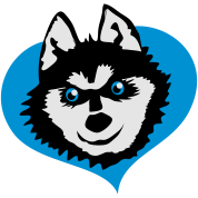 Siberian husky face smile on love heart cute!