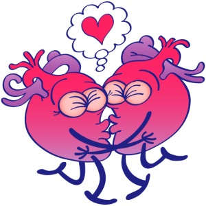 Couple of hearts in love kissing passionately