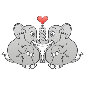Elephants intertwining trunks and falling in love