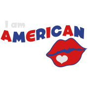 i am american with kissing lips