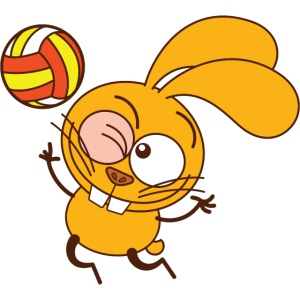 Bunny making a jump serve when playing volleyball