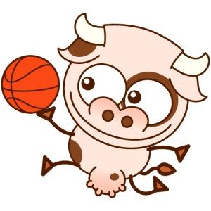Cute cow playing basketball performs layup shot