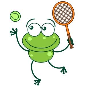 Cute frog preparing a serve shot in a tennis match