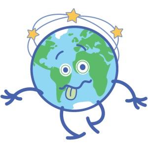 Cartoon Earth walking unsteadily and feeling dizzy