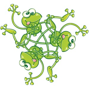 Frogs having fun when rotating in a pattern design