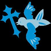 pretty blue bird flying gothic cross